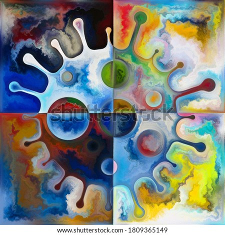 Viral Color. Outlines of abstract coronavirus and rich textures on the subject of psychological dimensions of global pandemic