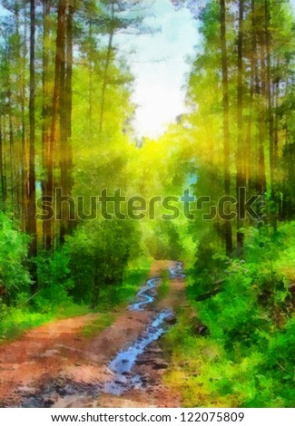 Digital structure of painting. Sunny summer landscape in the for