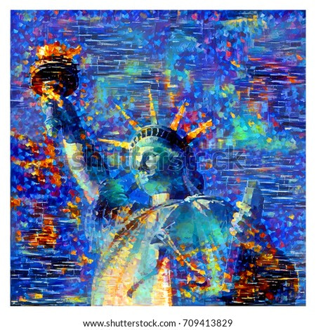 oil painting artwork of liberty statue, New York City