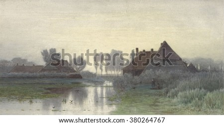 Farmers Homes on the Water in Morning Mist, by Paul Gabriel, c. 1848-1903, Dutch watercolor painting of a rural village with two people in the mid-ground.