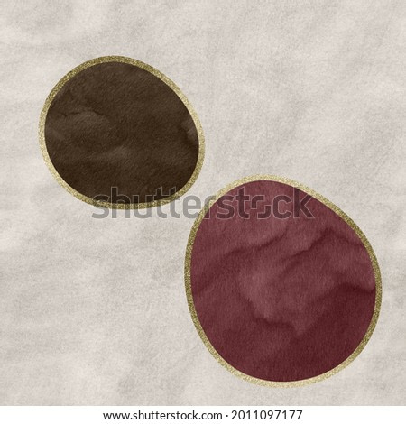 Abstract artwork with taupe and burgundy soft shapes over beige watercolor texture background.