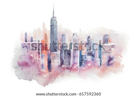 watercolor drawing cityscape big city downtown, aquarelle painting.