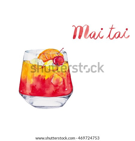 Mai tai. Cocktails , watercolor painting isolated on white background.