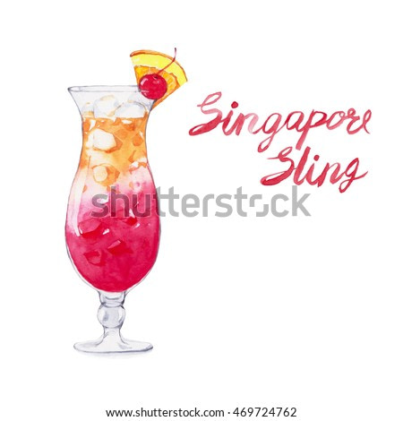 Singapore sling. Cocktails , watercolor painting isolated on white background.