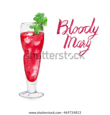 Bloody mary. Cocktails , watercolor painting isolated on white background.
