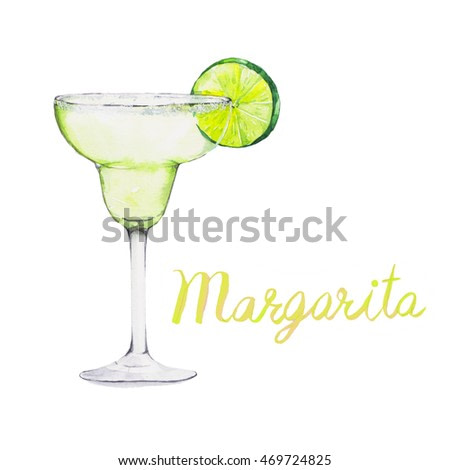 Margarita. Cocktails , watercolor painting isolated on white background.