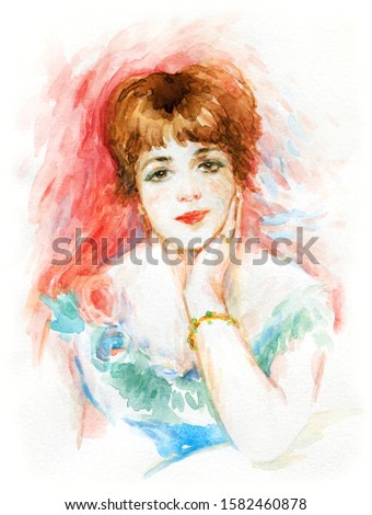 young woman. illustration. watercolor painting