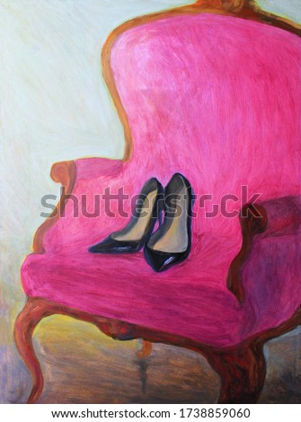 womens shoes on chair. oil painting