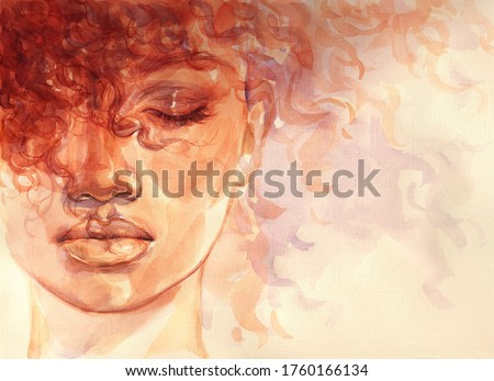 african american woman. beauty illustration. watercolor painting