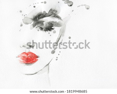 beautiful woman face. beauty style illustration. watercolor painting