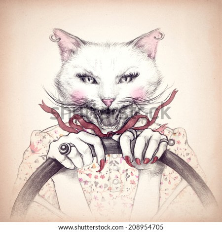 Crazy cat in a car .fashion animal watercolor illustration