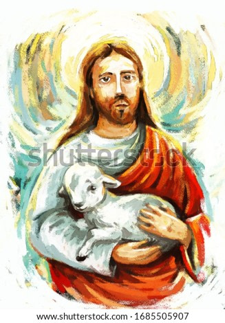 calm jesus messiah with the lamb and resurrection with nature background - illustration for children