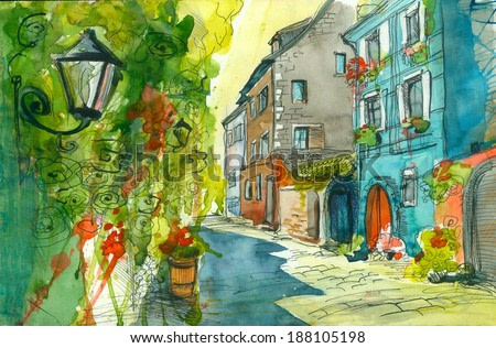 Small Summer Street, watercolor painting poster illustration