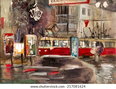 Night city view warm palette watercolor pencil oil art colored illustration hand drawn artwork poster