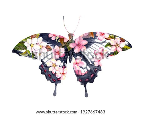 Beautiful butterfly with cherry blossom, spring sakura pink flowers. Floral moth hand painted by watercolor