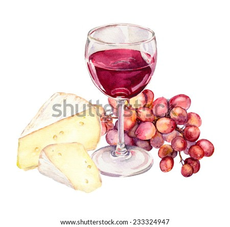 Cheese, grape and red wine glass. Watercolour picture
