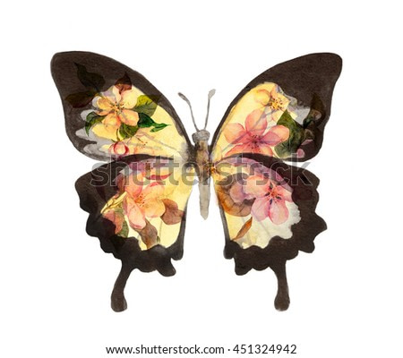 Butterfly with flowers. Watercolor