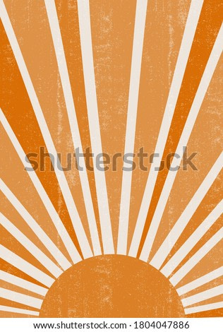 Orange Sun print boho minimalist printable wall art geometric abstract sunset print bohemian art work, vector