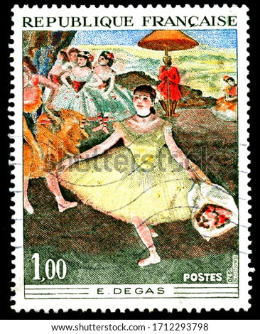 France circa 1970 a stamp printed in France shows a canvas image by Degas