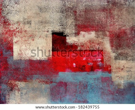 Beige and Red Abstract Art Painting