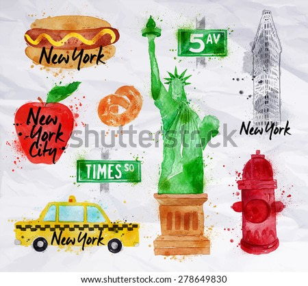 New York symbols watercolor drawing with drops and splash on a crumled paper, pretzel, statue of liberty, red hydrant, 5av.