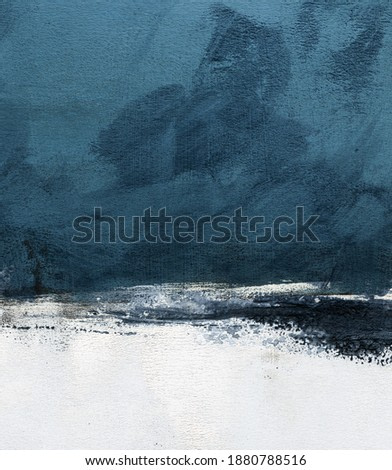 Hand painted minimalist landscape for creative design of posters, cards, packaging, banners, websites, wallpapers, magazines, branding and advertising. Modern art.