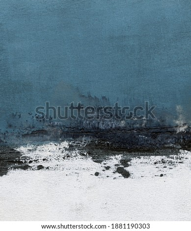 Abstract hand painted minimalist landscape for creative design of posters, cards, packaging, banners, websites, wallpapers, magazines, branding, advertising. Modern art.