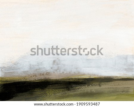 Contemporary minimalist landscape. Versatile image can apply to a wide range of creative design projects: posters, packaging, banners, cards, websites, wallpapers and magazines. Abstract painting.