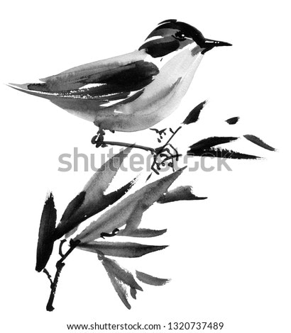 Watercolor and ink illustration of bird on the tree branch, sumi-e oriental painting, hand drawn art