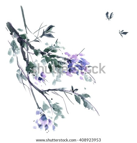 Watercolor and ink illustration of blossom tree. Gohua, sumi-e, u-sin painting.