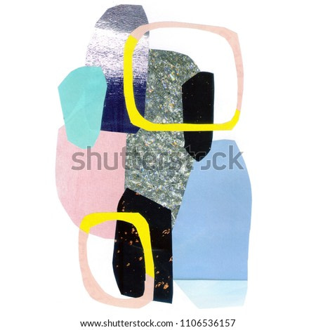 Hand drawn abstract composition of a modern art style. Raster illustration with minimalist style. Collage of pasted paper.