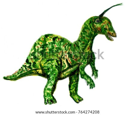 Fossil reptile, dinosaur painted in watercolors, hand drawn abstract illustration.