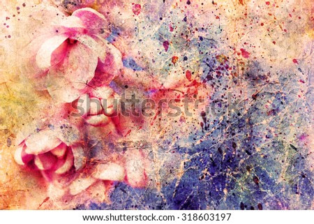 gentle pale pink lilac flowers and watercolor splashes