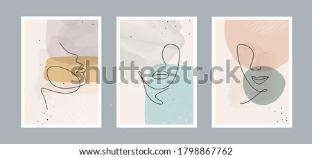 Modern abstract line minimalistic  women faces  and arts background with different shapes for wall decoration, postcard or brochure cover design. Vector  illustrations design.