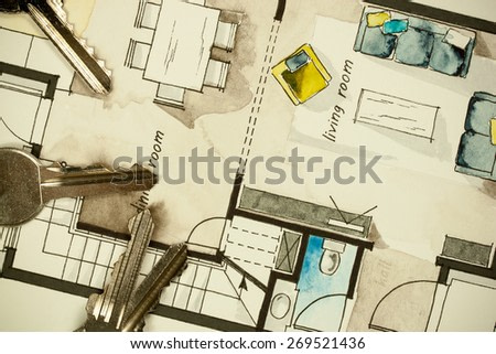 Watercolor and ink freehand sketch drawing of apartment flat floor plan, symbolizing artistic custom unique approach to real estate business and design process, as well as extraordinary behavior