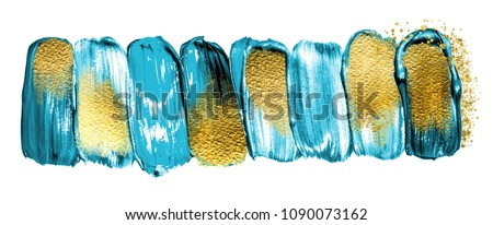 Blue lagoon. Art and Gold. Trendy color with golden paint and glitters.  A painting for the wall. Very beautiful abstract rich painting.