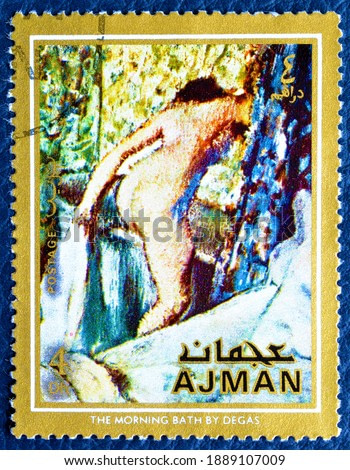 Ajman - circa 1971 : Cancelled postage stamp printed by Ajman, that shows painting The morning bath by Degas, circa 1971.