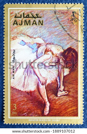 Ajman - circa 1971 : Cancelled postage stamp printed by Ajman, that shows painting Dancer seated by Degas, circa 1971.