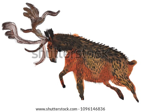Big antlered deer illustration, watercolor painting isolated on white background. Primitive art.