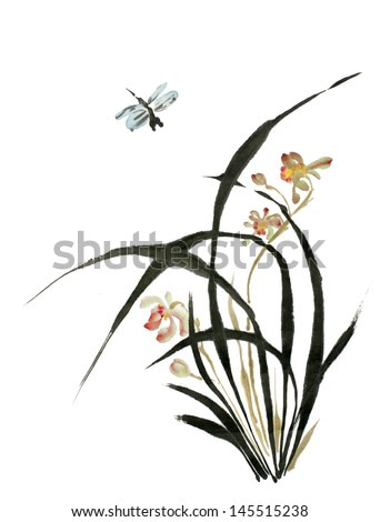 original art, watercolor painting, spring flower and dragonfly