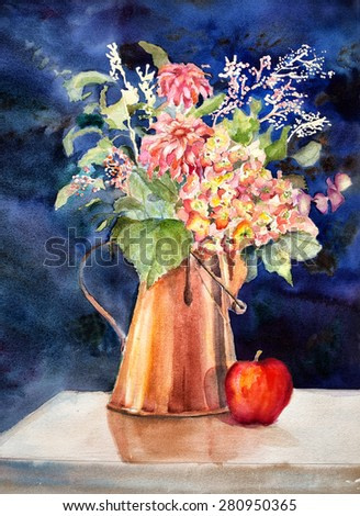 Original art, watercolor painting of copper coffee pot filled with flowers