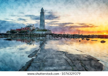 Watercolour painting of  sunrise over the lighthouse on St Mary's Island at Whitley Bay on the Northumberland coast