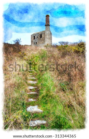 Watercolour painting of an engine house at the Prince of Wales slate quarry neat Tintagel in north Cornwall