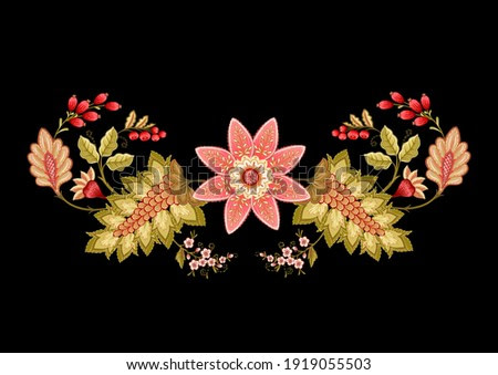 Fantasy flowers in retro, vintage, jacobean embroidery style. Embroidery imitation isolated on black background. Vector illustration.