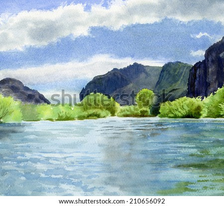 Blue Green River with Cliffs.  Watercolor painting of a glacial river of blue green surrounded by start rocky cliffs.  Willow trees line the river bank.