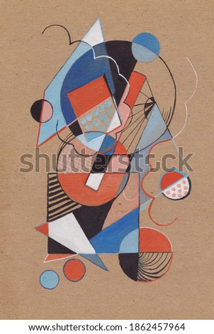 Geometric abstract picture with many geometric figures, joy