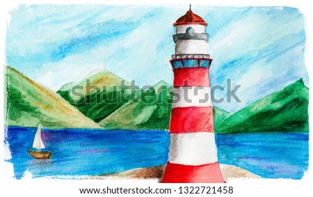 Watercolor illustration of lighthouse and mountains and a boat. Vintage hand drawn card.