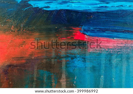 Abstract oil painting background. Oil on canvas texture. Hand drawn oil painting.Color texture. Fragment of artwork. Brushstrokes of paint. Modern art. Contemporary art. Watercolor drips