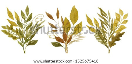 Watercolor leaves floral compositions. Three autumn leaves bouquets of dark green and yellow color, painted with watercolor. Botanical illustration.