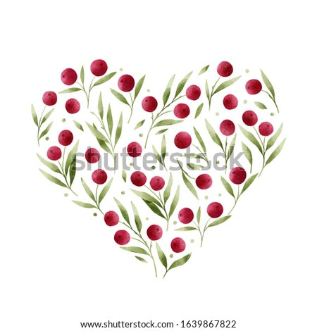 Bright red berries arranged in heart shape, isolated on white background. Botanical illustration. Simple and cute floral drawing.